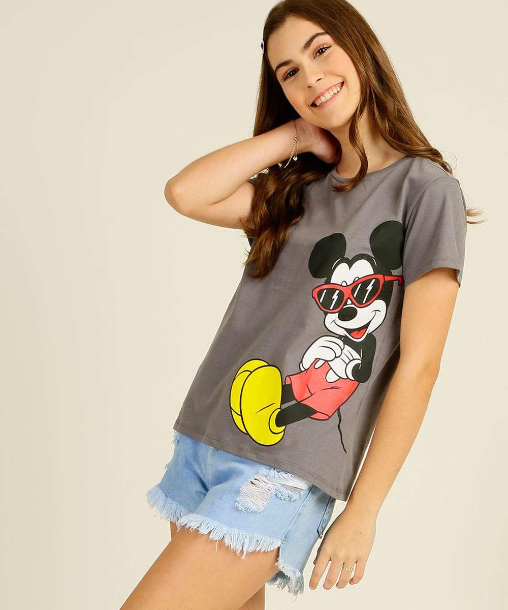 Blusa Juvenil Manga Curta Mickey Disney Tam 10 a 16