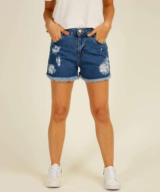 Image_Short Jeans Feminino Destroyed Barra Desfiada Sawary