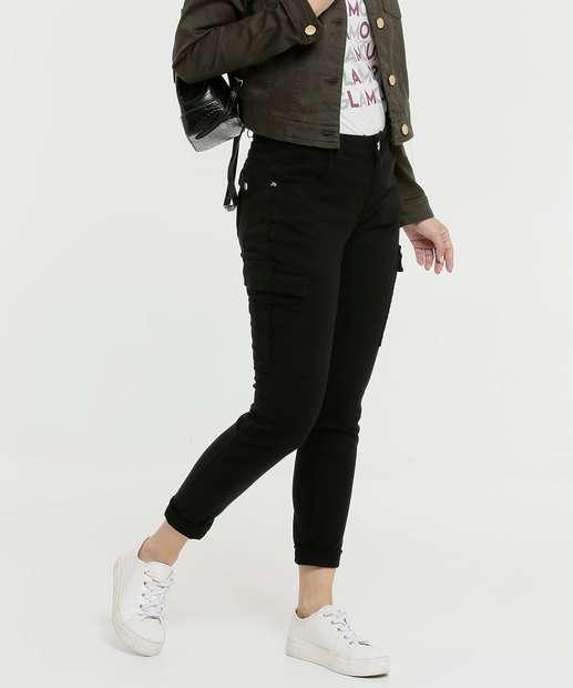 Image_Calça Feminina Sarja Skinny Cargo Zune Jeans