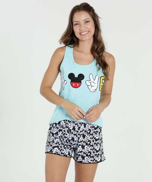 Image_Pijama Feminino Short Doll Estampa Mickey Disney