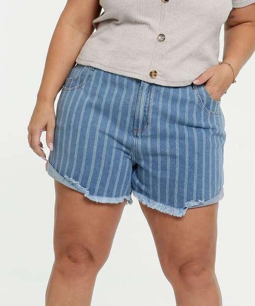 Image_Short Feminino Jeans Listrado Plus Size Marisa