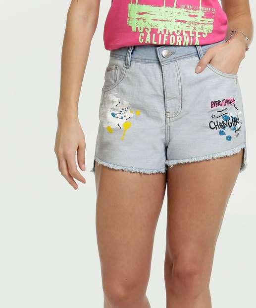 Image_Short Feminino Estampa Frontal Barra Desfiada Zune Jeans