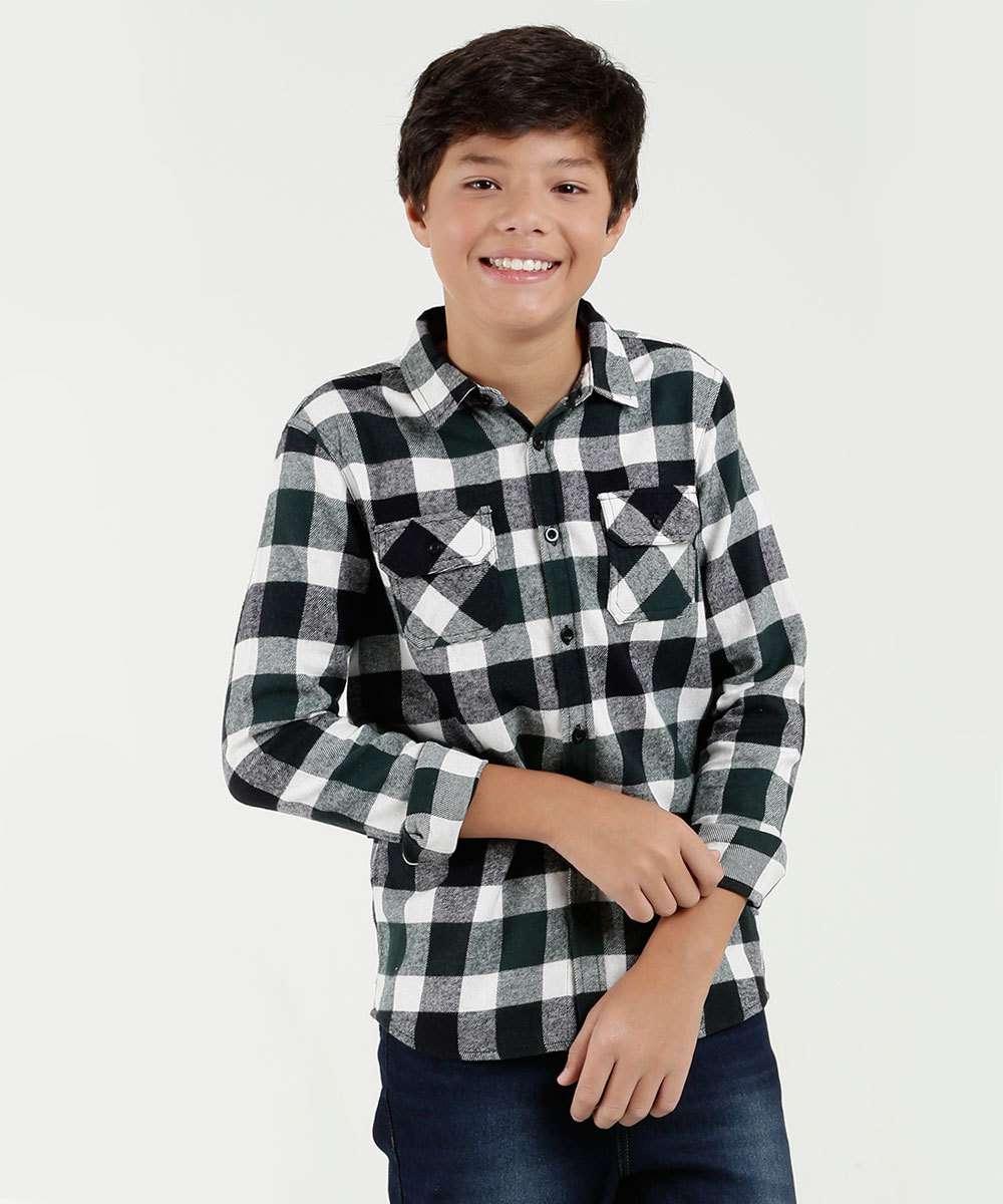 Camisa Juvenil Quadriculada Manga Longa Mr