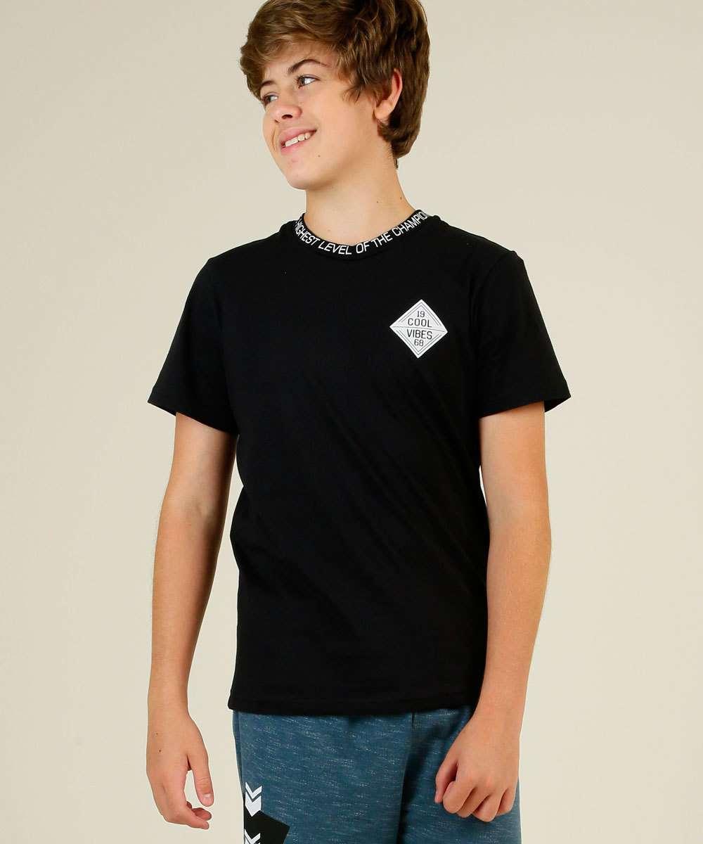 Camiseta Juvenil Manga Curta Estampa Frontal Tam 10 a 16