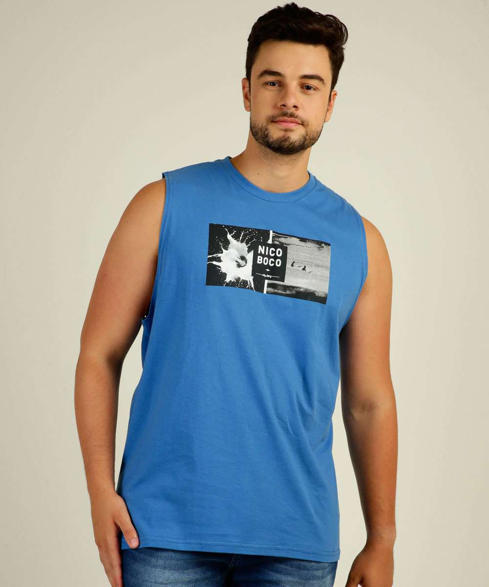 Regata Masculina Estampa Surf Plus Size Nicoboco