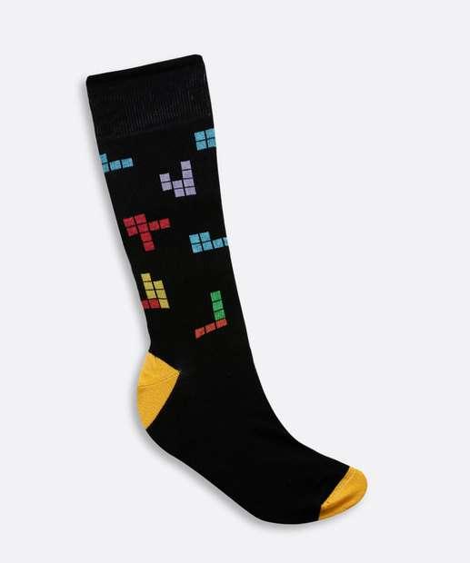 Image_Meia Masculina Cano Longo Estampa Tetris Trifil