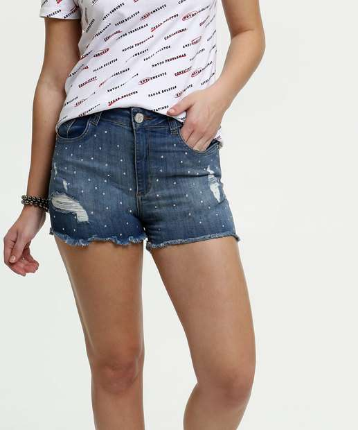 Image_Short Feminino Strass Destroyed Zune Jeans By Sabrina Sato