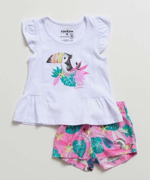 Image_Conjunto Infantil Bebê Estampa Tropical Manga Curta