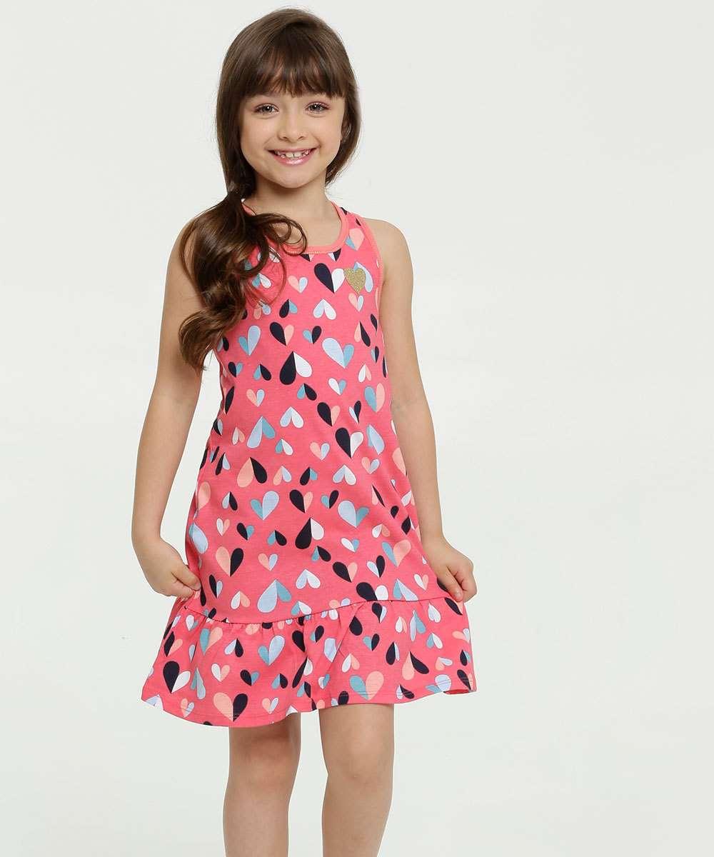 Vestido Infantil Estampa Coração Sem Manga