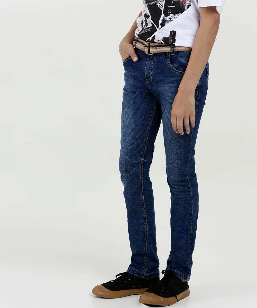 Calça Juvenil Jeans Cinto Akiyoshi