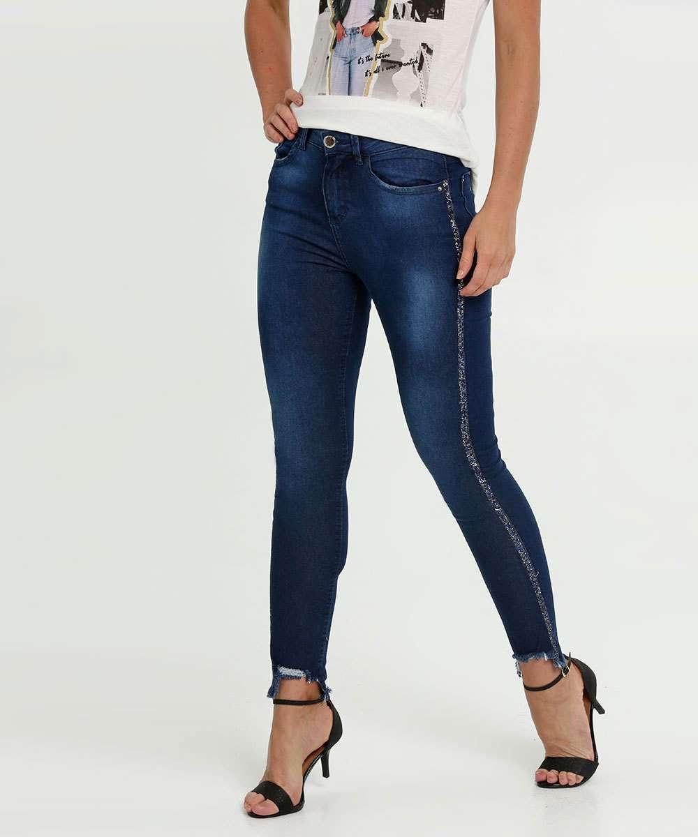 Calça Feminina Jeans Skinny Brilho Marisa