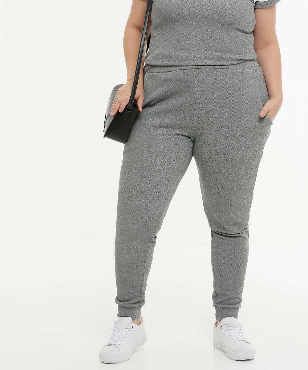 Calça Plus Size Feminina Jogger Piquet
