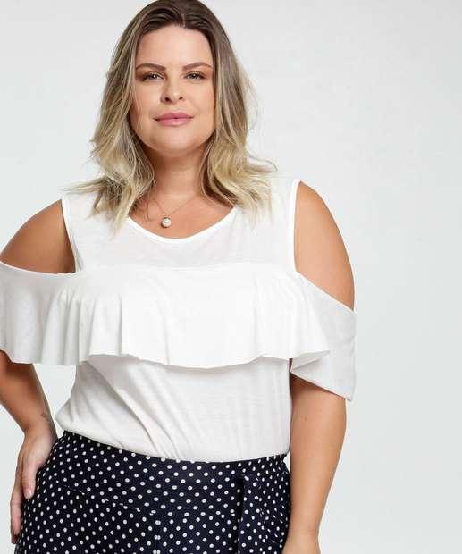 Image_Blusa Feminina Open Shoulder Babado Plus Size
