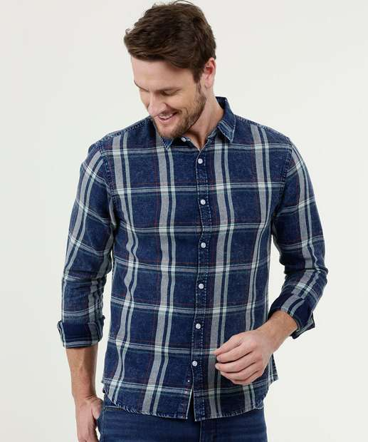 Image_Camisa Masculina Jeans Estampa Xadrez MR