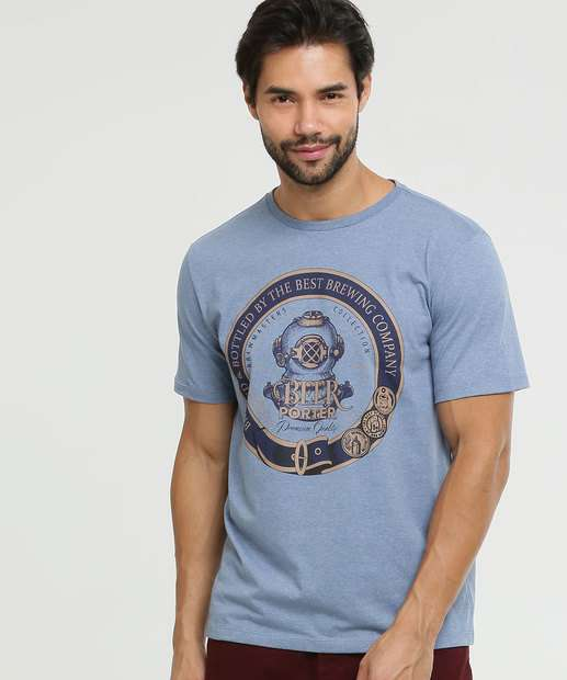 Image_Camiseta Masculina Mescla Estampa Frontal MR