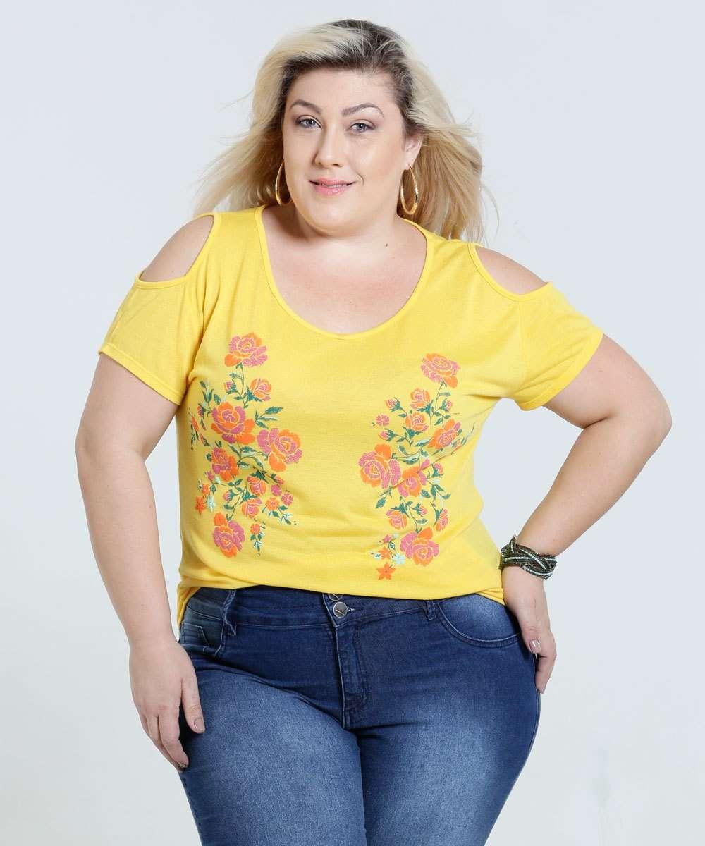 5240181fa Blusa Feminina Plus Size Open Shoulder Marisa