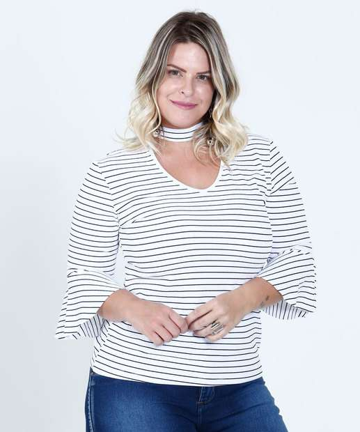 Image_Blusa Feminina Listrada Choker Plus Size Chópp