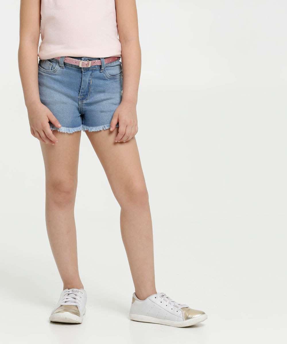 Short Infantil Jeans Barra Desfiada Marisa