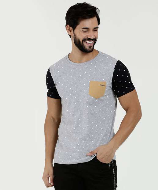 03bc5b5c3 Camiseta Masculina Estampa Bolinhas Manga Curta Rock   Soda