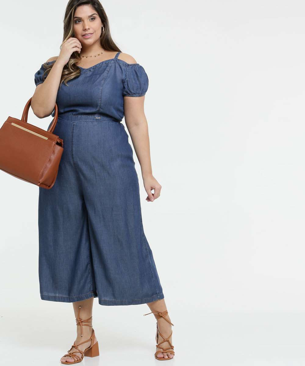 Macacão Feminino Jeans Open Shoulder Plus Size
