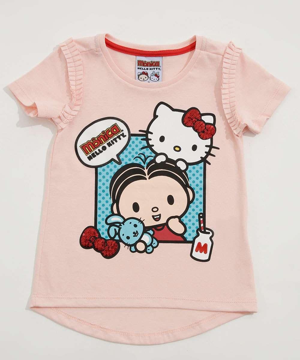 Blusa Infantil Estampa Paetê Hello Kitty e Mônica Sanrio