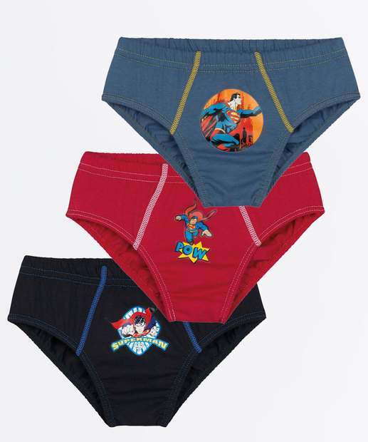 Image_Kit 3 Cuecas Infantil Estampa Super Homem Lupo