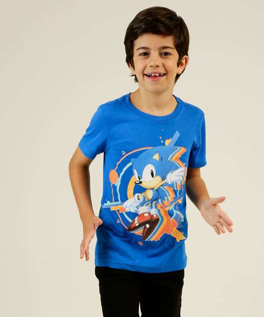 Image_Camiseta Infantil Estampa Sonic Manga Curta MR