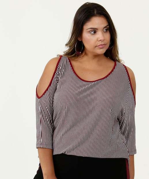 Image_Blusa Feminina Open Shoulder Listrada Plus Size