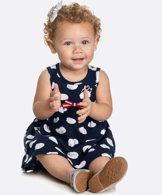 Image_Vestido Infantil Bebê Sem Manga Bolinhas Tam 0 a 10 Meses