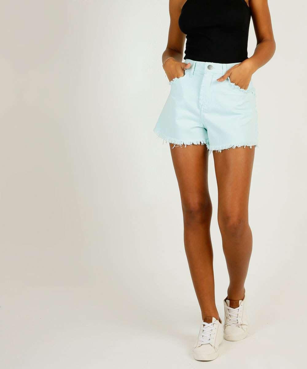 Short Jeans Feminino Cintura Alta Bolsos