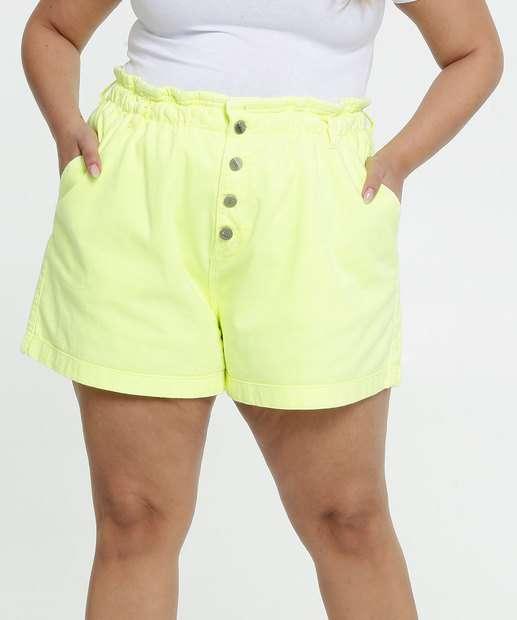 Image_Short Feminina Sarja Botões Neon Plus Size Razon