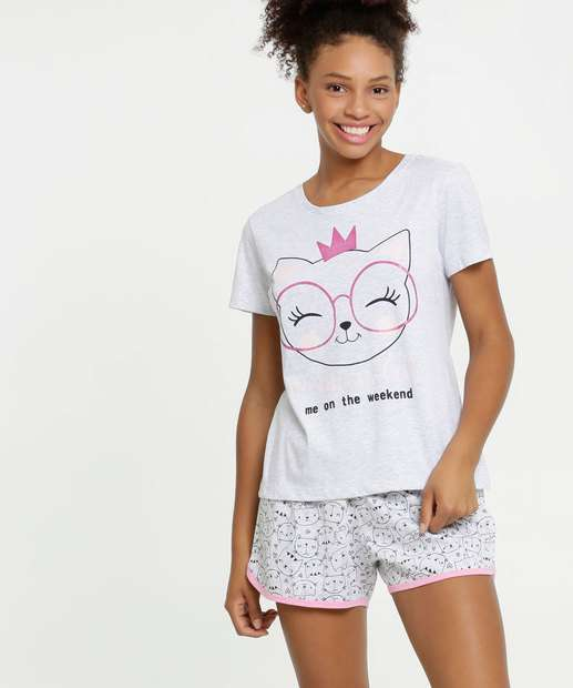 Image_Pijama Feminino Estampa Gato Marisa