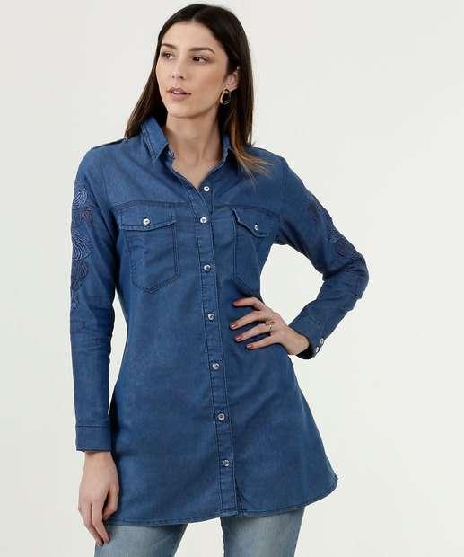 Image_Camisa Feminina Jeans Manga Longa Disparate