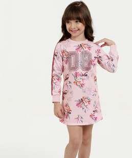 02c072a331 NOVA COLEÇÃO. 30% compram · Vestido Infantil Moletom Estampa Floral Manga.