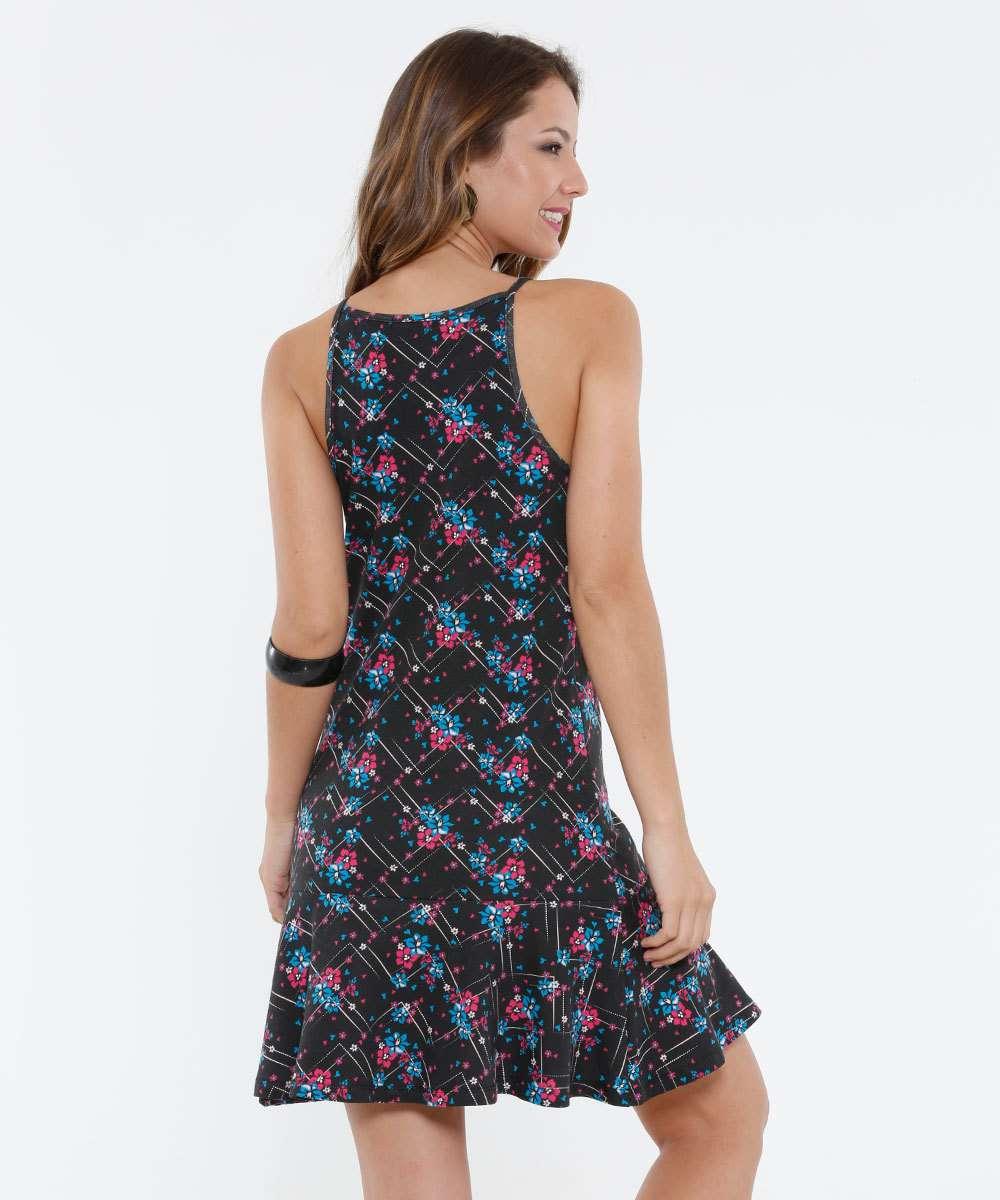 Vestido preto floral marisa