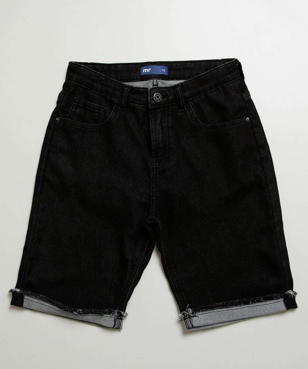 Bermuda Juvenil Jeans Bolso Barra Desfiada MR
