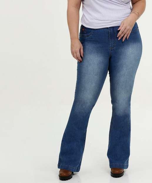 43d3e40c2 Calça Feminina Flare Stretch Plus Size Uber Jeans
