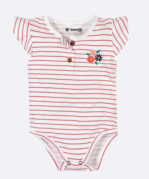 Image_Body Infantil Bebê Listrado Bordado Flores Brandili