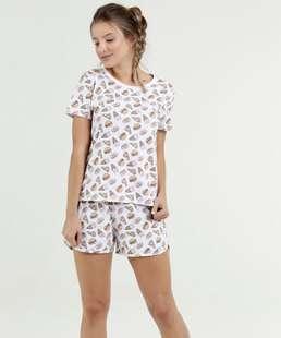 Pijama Feminino Estampa Pizza Manga Curta Marisa