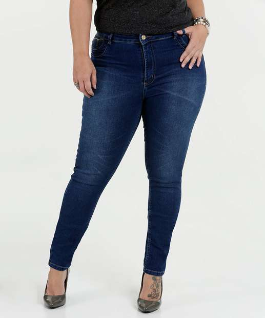 Image_Calça Feminina Jeans Skinny Cintura Média Plus Size Sawary