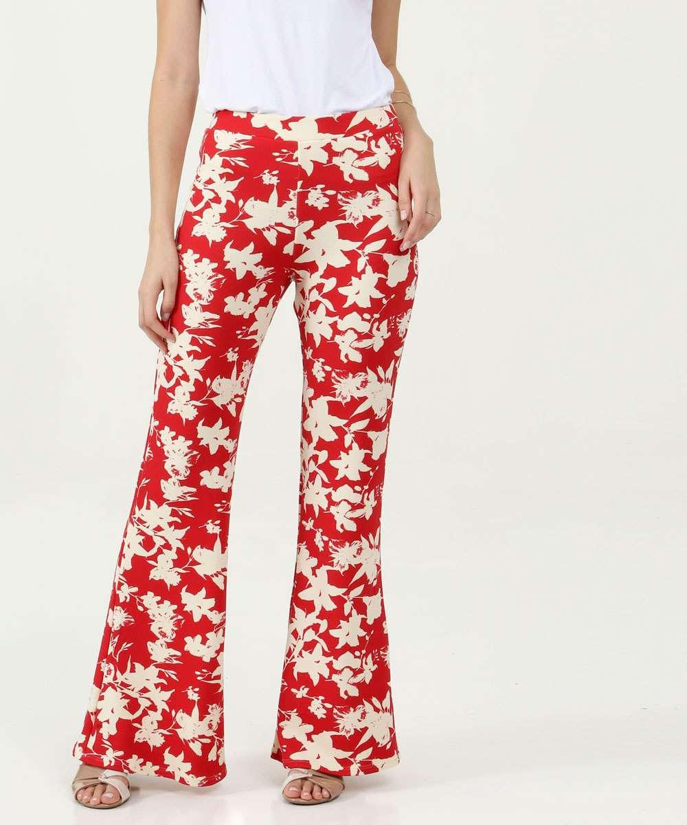 Calça Feminina Pantalona Estampa Floral Marisa