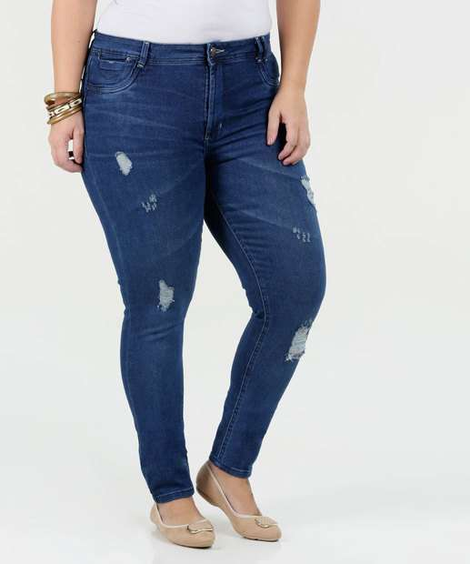 Image_Calça Feminina Jeans Skinny Puídos Plus Size Sawary
