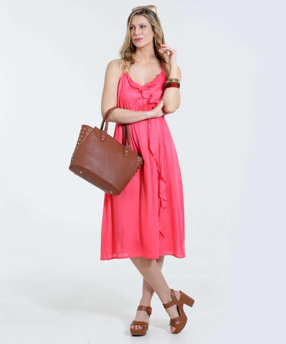 a6cacfeec Vestido Feminino Longo Babado Fenda Frontal Marisa