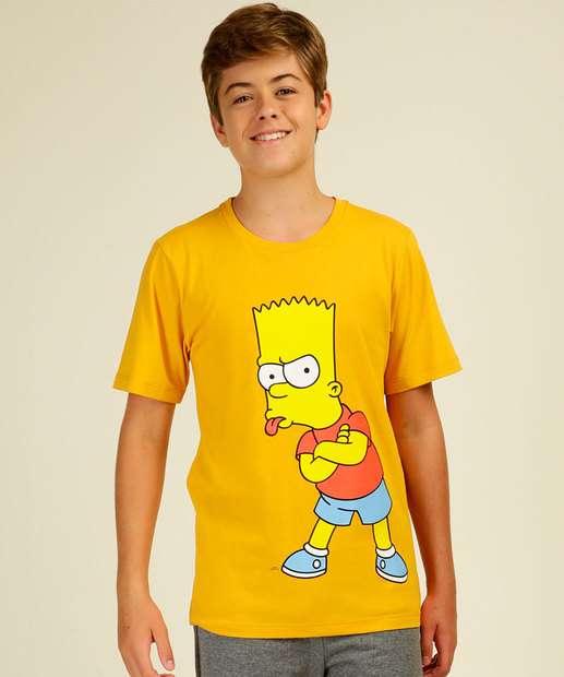 Image_Camiseta Juvenil Manga Curta Estampada Simpsons Tam 10 a 16