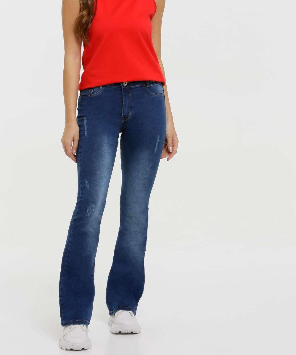 Calça Juvenil Jeans Flare Puídos Tam 10 a 16
