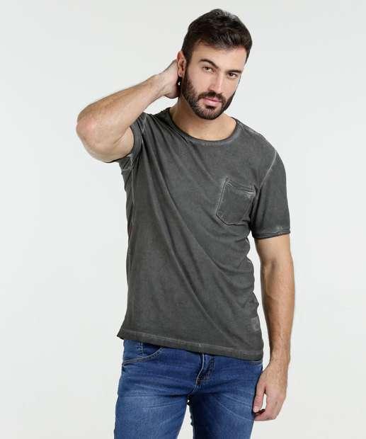 Image_Camiseta Masculina Bolso Manga Curta Kohmar