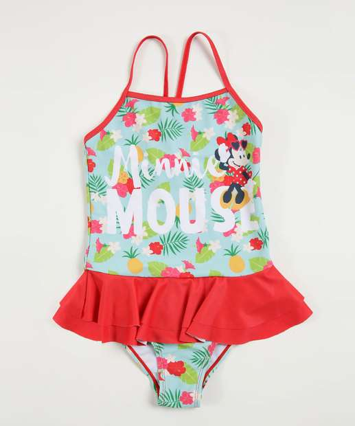 Image_Maiô Infantil Floral Estampa Minnie Babados Disney