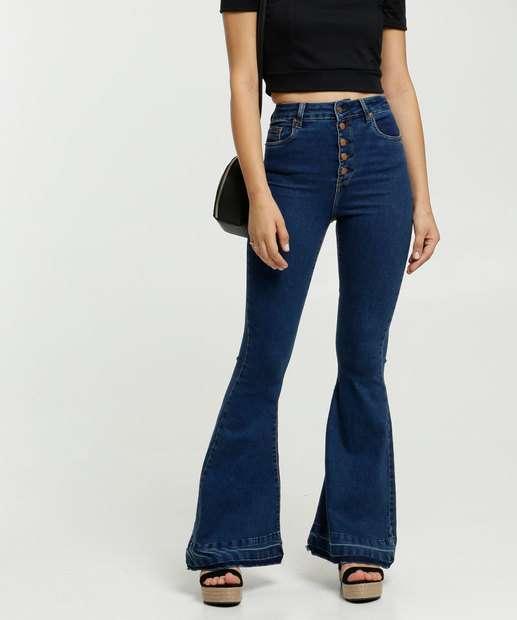 Image_Calça Jeans Stretch Flare Feminina Botões Disparate
