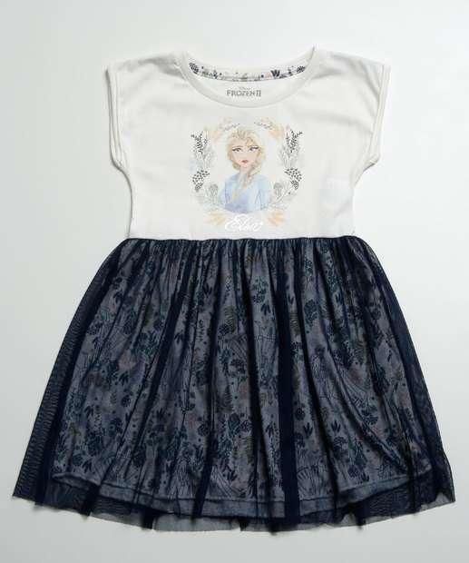 Image_Vestido Infantil Tule Estampa Elsa Frozen Disney