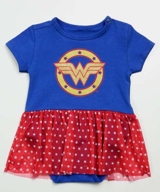 Image_Body Infantil Mulher Maravilha Liga da Justiça Tam 0 a 12 Meses